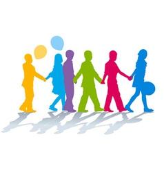 School children holding hands vector image
