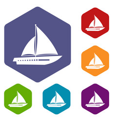 Sailing yacht icons set vector
