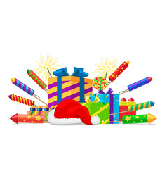 Fireworks rockets gift boxes and santas hat set vector