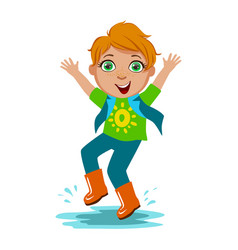 boy in t-shirt and rubber boots kid in autumn vector image