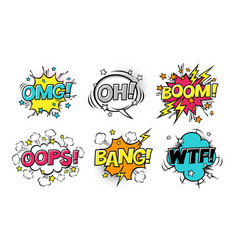 Comic speech bubbles set with different emotions vector
