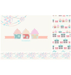 Invitation card for a party with seamless pattern vector