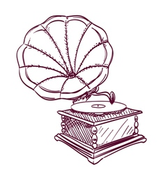 Phonograph hand drawn vector