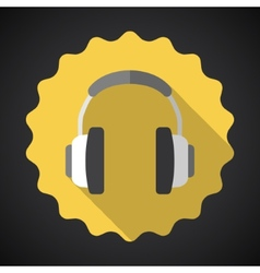 Music headphones earphones flat icon vector