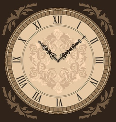 Close-up vintage clock with vignette arrows vector