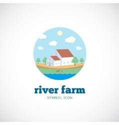 Eco river farm flat style concept symbol icon or vector