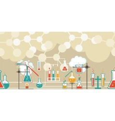 Chemistry infographic in a seamless pattern vector