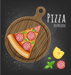 Pizza pepperoni slice vector