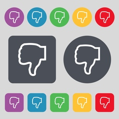 Dislike icon sign a set of 12 colored buttons flat vector