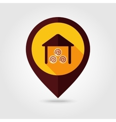 Shed flat mapping pin icon vector