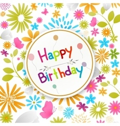 Birthday card with colorful flowers vector