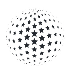 Abstract 3d sphere with 5 point stars vector