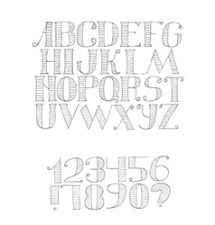Black and white with light english alphabet vector