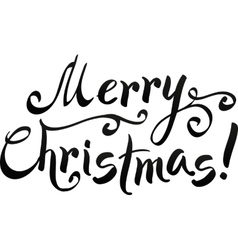 Black merry christmas hand-writing lettering vector