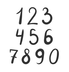 Bold number font hand drawn vector