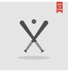 Crossed baseball bats and ball set vector
