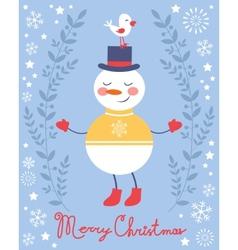 Cute snowman and bird Christmas card vector image