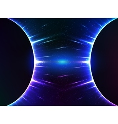 Dark blue shining cosmic spheres gravity vector image