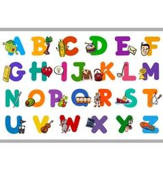 Educational cartoon alphabet for kids vector