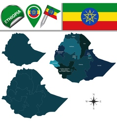 Ethiopia map with named divisions vector