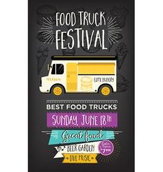 Food truck party invitation food menu template vector