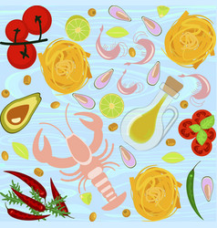 fresh seafood flat design vector image vector image
