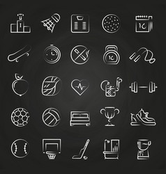 healthy lifestyle line icons on chalkboard vector image