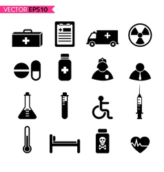 Hospital icons vector image vector image