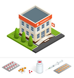 Isometric pharmacy store facade of pharmacy in vector