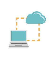 Laptop synchonization cloud icon vector