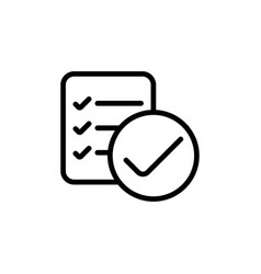 line checklist report icon on white background vector image vector image