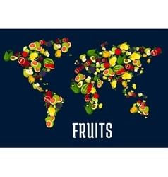 Map of world continents designed of fruits vector