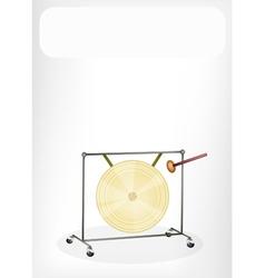 Musical gong white banner vector