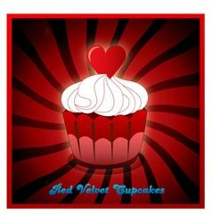 Red velvet cupcake vector