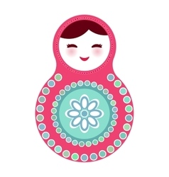 Russian dolls matryoshka on white background pink vector