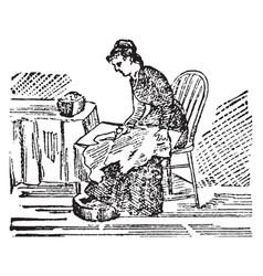 Seamstress vintage vector