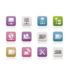 server and hosting icons vector image vector image