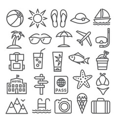 Summer line icons vector