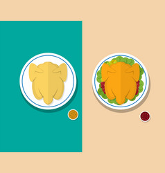 top view headless steamed chicken and roasted duck vector image vector image