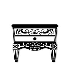 Vintage black furniture rich carved vector