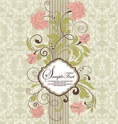 Vintage damask invitation card vector