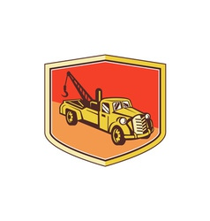 Vintage tow truck wrecker shield retro vector