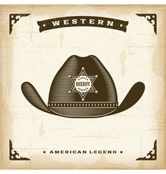 Vintage western sheriff hat vector