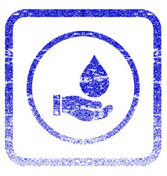 Water service framed textured icon vector