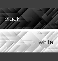 Black and white tech geometric banners vector