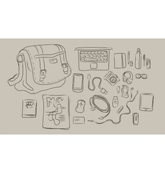 sketch of things inside bag from laptop to vector image