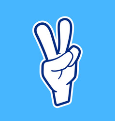 Peace hand sign icon in cartoon style vector