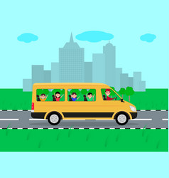 children traveling by bus on travel vector image