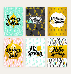 Spring time trendy brochures vector