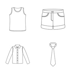 Shirt with long sleeves shorts t-shirt tie vector